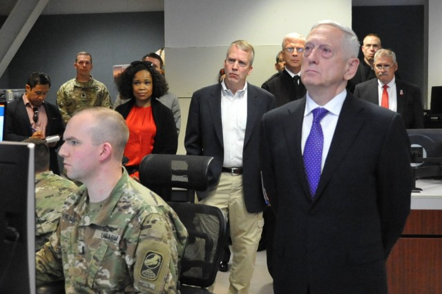 Secretary of Defense James Mattis visited Fort Greely where he received an overview of Fort Greely's Ground Based Midcourse Defense program June 25. As part of the visit, Secretary Mattis spent some time with the Soldiers of the 49th Missile Defense Battalion and discussed the importance of their no-fail mission to defend the US against ICBM attack.