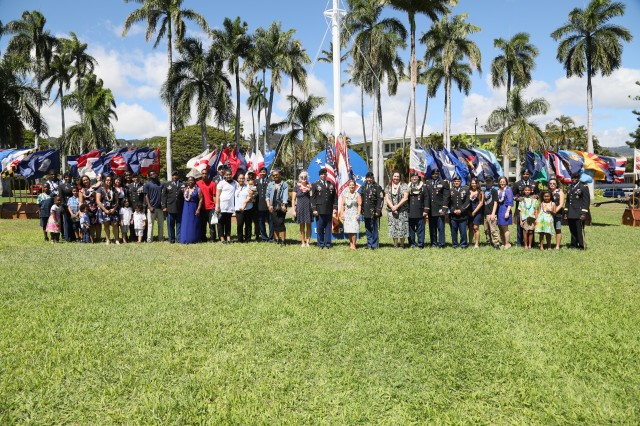USARPAC Soldiers, family and friends gathered together for a Celebration of Service ceremony, June 20, at historic Palm Circle on Fort Shafter, Hawaii. Ten Soldiers with a combined service of over 291 years were honored during the ceremony as they prepare to transition from active duty service