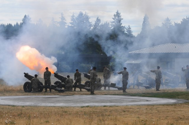 Canons fire during a Courage Honor Retreat Ceremony in honor of Maj. Gen. Jeffrey Milhorn, I Corps deputy commanding general, on June 22, 2018, at Joint Base Lewis-McChord, Wash. The ceremony was held to honor Milhorn as he prepares to take command of the United States Army Corps of Engineers' North Atlantic Division(U.S. Army photo by Sgt. Kyle Larsen)