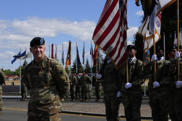 Maj. Gen. Jeffrey Milhorn, I Corps deputy commanding general, stands in front of a formation honoring him at a Courage Honor Retreat ceremony on June 22, 2018, at Joint Base Lewis-McChord, Wash. The ceremony was held to honor Milhorn as he prepares to take command of the United States Army Corps of Engineers' North Atlantic Division(U.S. Army photo by Sgt. Kyle Larsen)