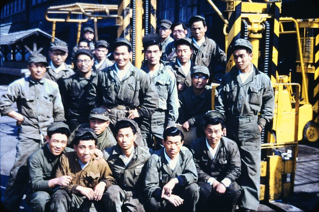 Early photo of a group of Korean Service Corps members during the Korean War circa 1952.  The photo is part of a collection of more than 200 Korean War photographs donated to the Republic of Korea army by the photographer's grandson, Col. Brandon D. Newton who until the beginning of June, served two years as commander of U.S. Army Garrison Red Cloud and Area I.