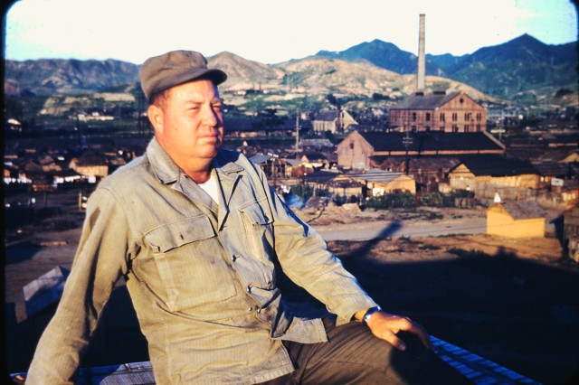 Master Sgt. Thomas B. Hutton an Eighth U.S. Army first sergeant in an automotive maintenance unit looks out on the South Korea countryside during the Korean War circa 1952.  His service in Korea gave him a rare chance to see the land and people of Korea up close as the country went about its daily life amid the privations and perils of war.  Hutton preserved the photos which ended up in the custody of his grandson, Col. Brandon D. Newton, after Hutton's death. Newton donated the photos to the Republic of Korea army which will be preserved in the Korean army's official archives.