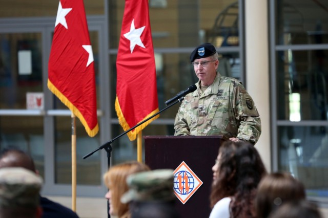U.S. Army Maj. Gen. John Baker, commanding general of U.S. Army Network Enterprise Technology Command, gives remarks during the 2d Theater Signal Brigade assumption of command ceremony for Col. Neil Khatod, June 26, 2018 in Wiesbaden, Germany.