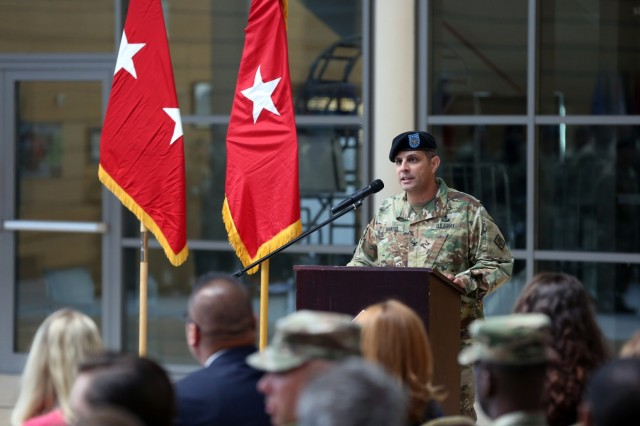 U.S. Army Col. Neil Khatod, commander of 2d Theater Signal Brigade, gives remarks during his assumption of command ceremony June 26, 2018 in Wiesbaden, Germany.