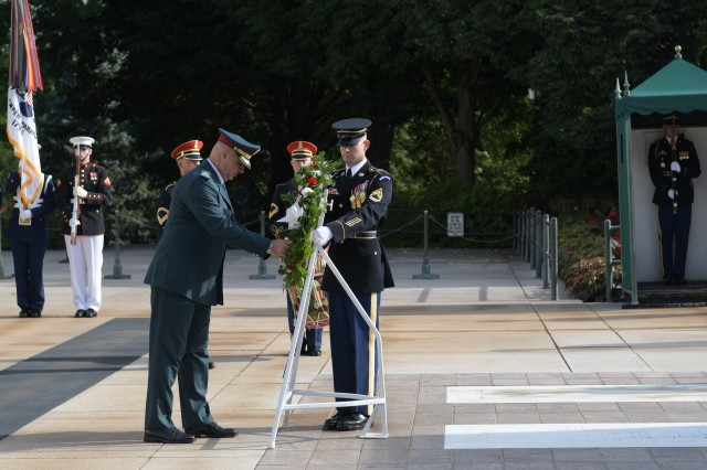 Gen. Joseph K. Aoun (left), commander, Lebanese Armed Forces and Maj. Gen. John P. Sullivan, Assistant Deputy Chief of Staff, G-4, lays a wreath at the Tomb of the Unknown Soldier, Arlington National Cemetery, Va., June 26, 2018. (U.S. Army photo by Cory Hancock, JFHQ-NCR/MDW Public Affairs)