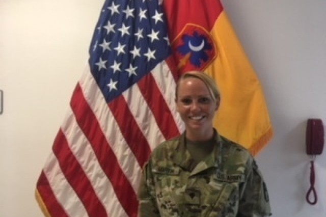 Spc. Hope Martin, 678th ADA BDE, South Carolina National Guard, completes the Basic Leadership Course, Grafenwoehr, Germany June 15, 2018.