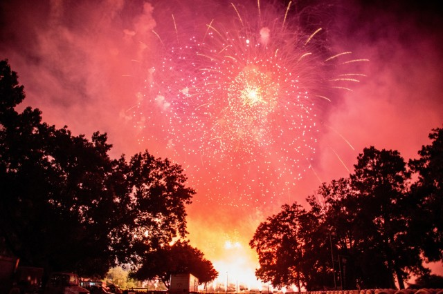 FORT BENNING, Ga. (June 26, 2018) - Fireworks light up the sky above York Field at the MCoE headquarters. The Maneuver Center of Excellence and Fort Benning opened its gates to the community June 23, 2018, in celebration of the Independence of the United States. (U.S. Army photo by Patrick Albright, Maneuver Center of Excellence, Fort Benning Public Affairs)