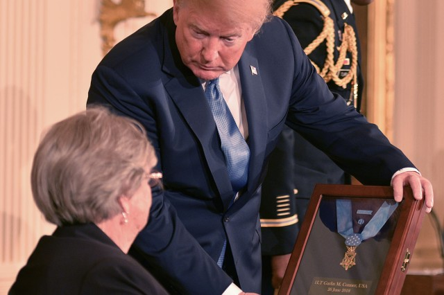 President Trump presents the Medal of Honor to Pauline Conner, the 89-year old widow of World War II veteran Garlin Conner. Conner earned the award for valorous acts on the morning of Jan. 24, 1945. Conner charged against a battalion of German Soldiers and six panzer tanks, directing artillery. In order to defeat the Germans, he directed American munitions on his position. His acts saved numerous lives in his unit.