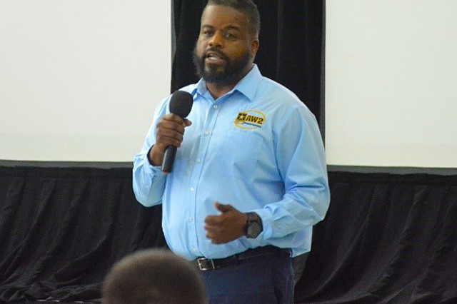Former Executive Chef turned Army Wounded Warrior Advocate Sean Patterson, addresses the annual AW2 Advocate Training in Tampa Florida on June 12, 2018. (Photo by MaryTherese Griffin)