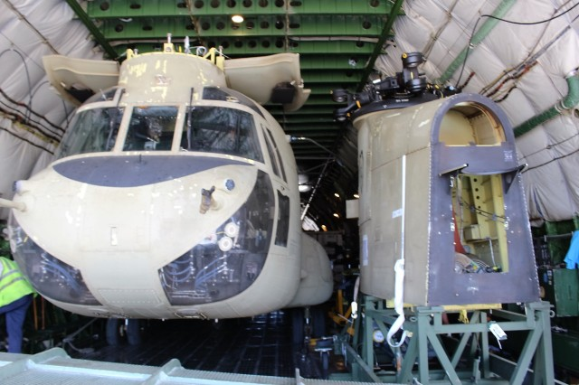 A CH-47 is ready to move onboard an AN-124 at Kalaeloa Airport on June 14.
