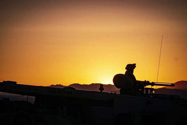 A Soldier assigned to 3rd Armored Brigade Combat Team, 1st Armored Division conducts security operations while in Fort Irwin, California for National Training Center rotation 18-08, which began May 27 and lasted three weeks. NTC tests Soldiers and prepares them for real-life situations they may face in combat.