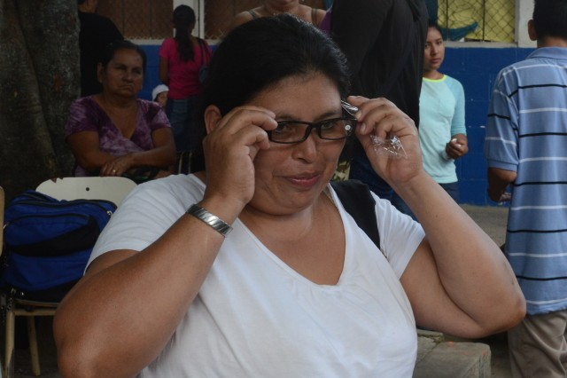 Reina Chavez has had great difficulty in reading. The strain on her eyes, she said, resulted in burning and itching. She was seen by optometry and received her first-ever pair of eyeglasses.