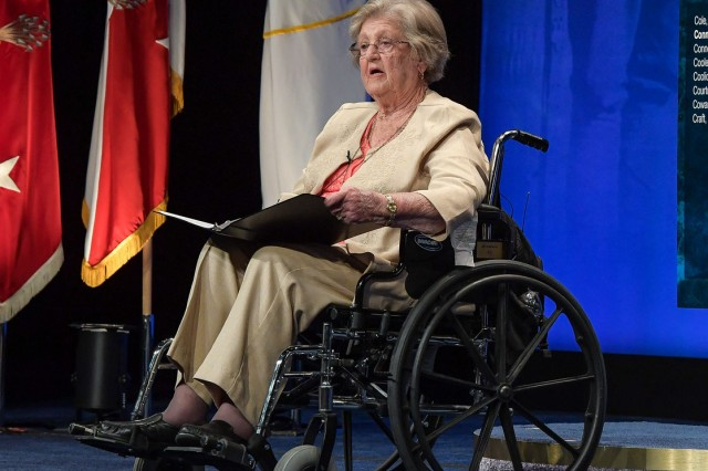 Pauline Conner, widow of Medal of Honor recipient Garlin Conner, speaks about her husband's heroic acts on Dec. 24, 1945 and their quiet life on a Kentucky farm, during the Hall of Heroes induction ceremony, June 27, 2018.