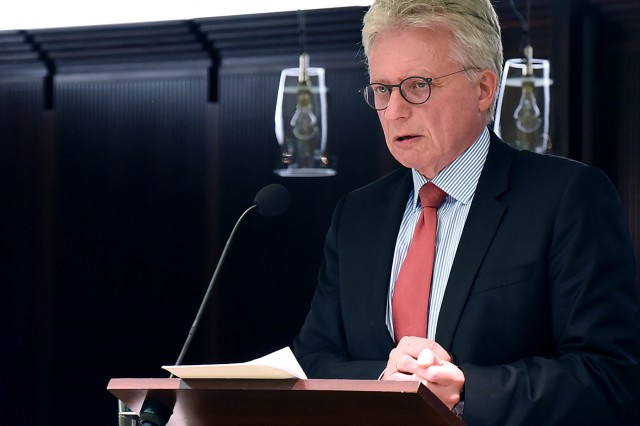 BERLIN (June 20, 2018) - Ambassador Dr. Hans-Dieter Lucas, permanent representative of the Federal Republic of Germany to NATO, talks about the upcoming NATO Summit 2018 to the participants of the Loisach Group June 20 at The Representation of the State of Bavaria in Berlin. (DOD photo by Christine June)