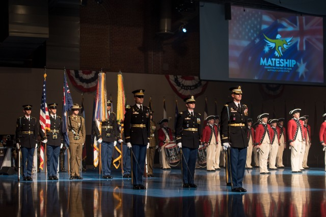 "Soldiers from the 3d U.S. Infantry Regiment (The Old Guard) and The United States Army Band ""Pershing's Own"", participate in a special Twilight Tattoo featuring Australian ""Mateship"" Tattoo, hosted by Gen. Joseph F. Dunford, 19th Chairman Joint Chiefs of Staff, in Conmy Hall, Joint Base Myer - Henderson Hall, Va., June 27, 2018. The special live-action military pageant commemorated the 100 year alliance between Australia and the United States. (U.S. Army photo by Sgt. Nicholas T. Holmes)"