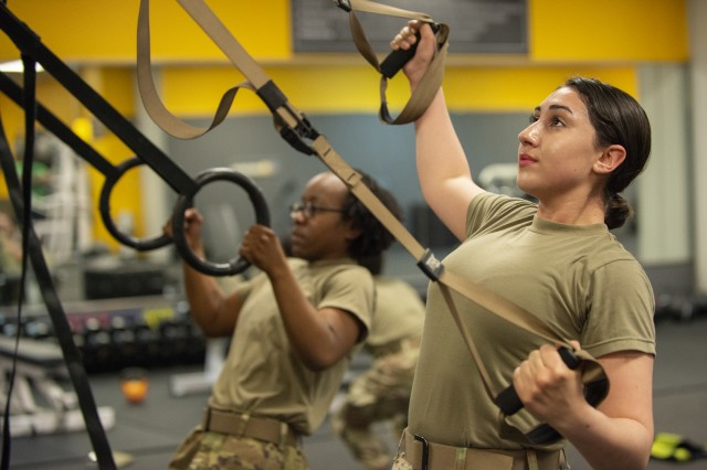 Soldiers perform functional fitness exercises inside the Health and Human Performance Center at Camp Casey, South Korea, May 29, 2018. A group of Soldiers, who have garrison roles at the remote camp, conduct multiple fitness sessions each duty day in an effort to improve readiness and stay physically fit.