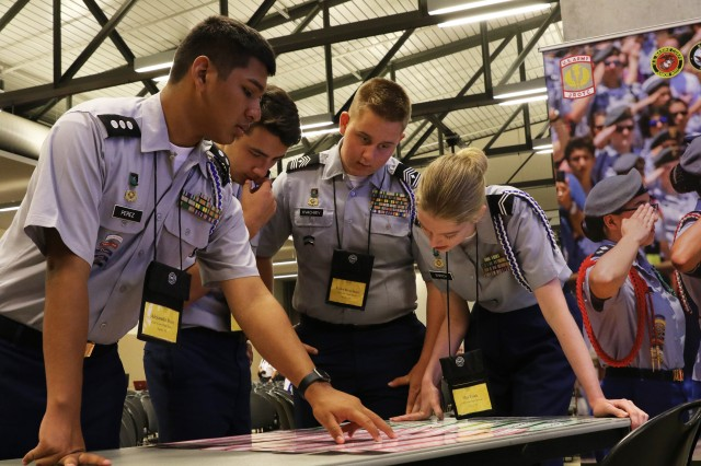 "Cadets from Gulf Coast High School, Naple, Florida, try to solve a challenge during the ""Gauntlet"" portion of JLAB June 23."
