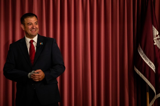 Medal of Honor recipient retired Master Sgt. Leroy Petry speaks to service members and civilians June 27 at Madigan Army Medical Center about taking the time to focus on their behavioral health.