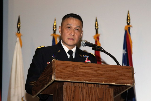 Maj. Gen. Viet X. Luong, Eighth Army deputy commanding general of operations, speaks to the audience of his personal immigration story. The naturalization ceremony was held at the U.S. Army Garrison Humphreys, South Korea, June 28.