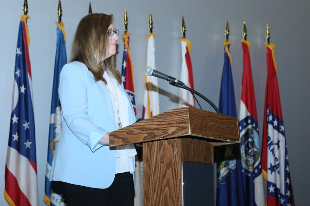 Jennifer Higgins, association director of refugee, asylum, and international operation of U.S. citizenship and immigration services, remarks at the beginning of the naturalization ceremony. The ceremony was held for 29 candidates at the U.S. Army Garrison Humphreys, South Korea, June 28.