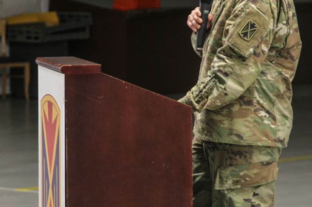 "Chief Warrant Officer 5 David Jones, command chief warrant officer, 10th AAMDC, addresses the audience during a relinquishment of responsibility ceremony for Jones at Rhine Ordnance Barracks, Germany June 29. The relinquishment of responsibility ceremony concluded after the ""Century of Service"" celebration for U.S. Army warrant officers."
