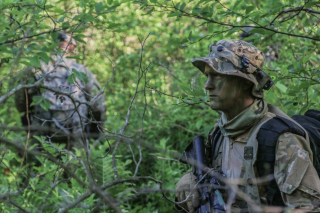 National Guard Soldiers conduct a training reconnaissance mission as a part of their xCTC rotation, June 12, 2018, at Fort Drum, N.Y.