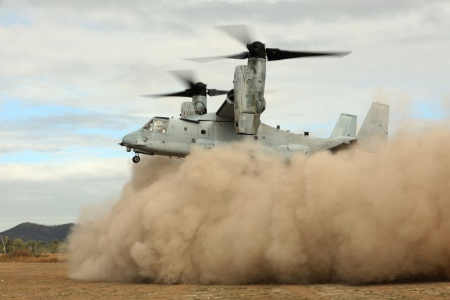 U.S. Marine Corps pilots land a MV-22 Osprey into the exercise theater to familiarize Australian leaders with the Osprey platform June 21 during Exercise Hamel in Shoalwater Bay Training Area, Australia.
