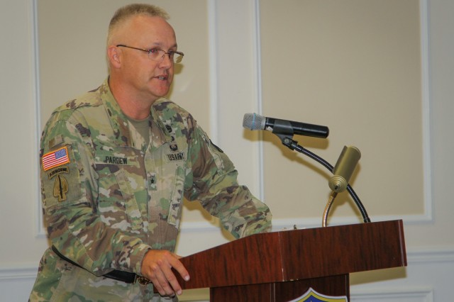 Brig. Gen. Paul H. Pardew, commanding general, U.S. Army Contracting Command, shares the opening remarks during a change-of-command ceremony for the 408th Contracting Support Brigade at the Carolina Skies Club and Conference Center at Shaw Air Force Base, South Carolina, June 22, 2018. (U.S. Army Photo by Sgt. Von Marie Donato)