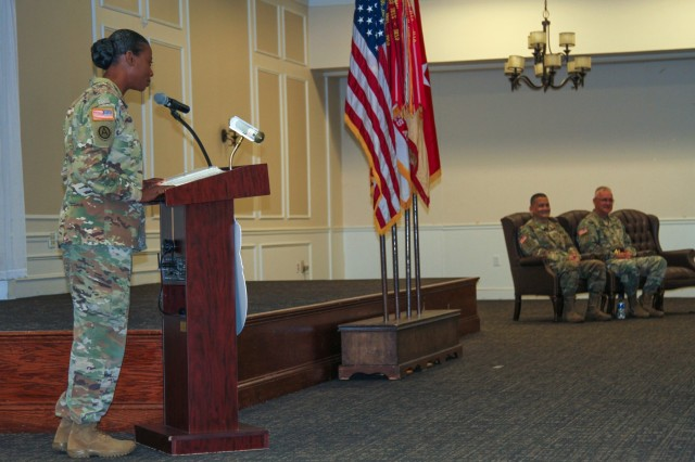 Col. Kim M. Thomas, outgoing commander of the 408th Contracting Support Brigade, shares her remarks during a change-of-command ceremony at the Carolina Skies Club and Conference Center at Shaw Air Force Base, South Carolina, June 22, 2018. (U.S. Army Photo by Sgt. Von Marie Donato)