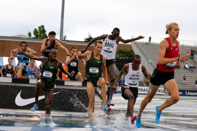 Staff Sgt. Hillary Bor placed third in the men's 3,000 meter steeplechase at the 2018 USA Track and Field Championships with a time of 8:32.37. Spc. Haron Lagat placed sixth.