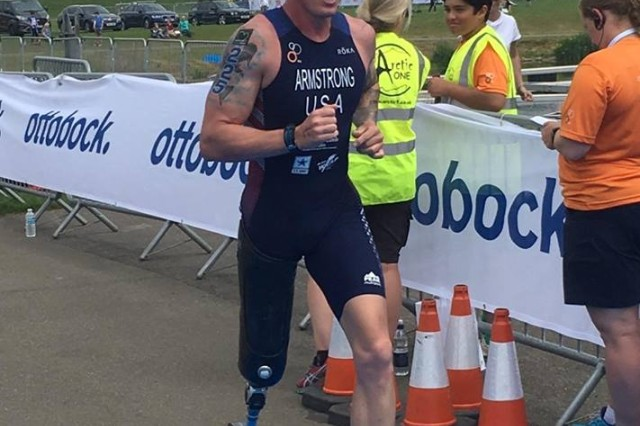 Sfc. Allan Armstong won his second title as National Para-Triathlon Champion with a time of 1:12:23 on June 24th in Pleasant Prairie, Wisconsin.