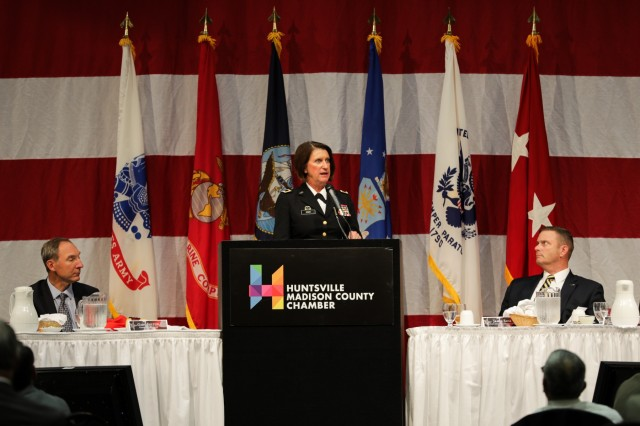 Maj. Gen. Sheryl Gordon, adjutant general of the Alabama National Guard, commends the Huntsville/Madison County community for its annual recognition of the military during Armed Forces Celebration Week. She was the keynote speaker at the week's Salute Luncheon.