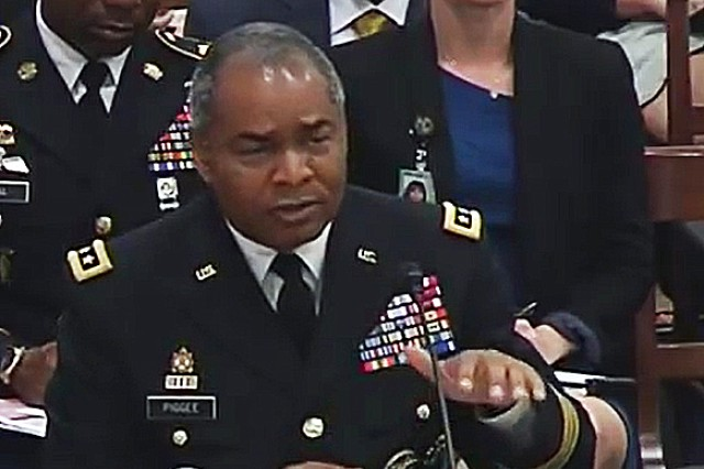 Lt. Gen. Aundre Piggee, the Army's G-4, testifies June 28, 2018 to the House Armed Services Committee's readiness subcommittee during a hearing on Army and Marine Corps depot policy issues and infrastructure concerns.