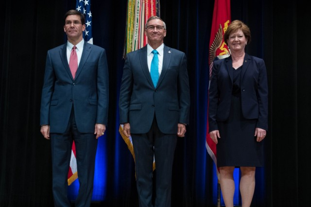 Secretary of the Army Dr. Mark T. Esper hosts the annual Presidental Rank Award Ceremony at the Pentagon Auditorium June 25, 2018. (U.S.Army photo by Staff Sgt. Brandy N. Mejia)