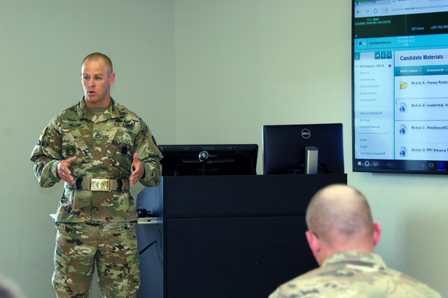 Above, Staff Sgt. Lew Miller, a drill sergeant leader with the U.S. Army Drill Sergeant Academy, discusses possible changes to how drill sergeants are taught June 26.