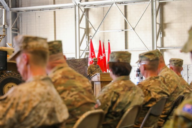 KANDAHAR AIRFIELD, Afghanistan (June 30, 2018) -- U.S. Army Maj. Gen. Andrew Poppas, deputy chief of staff for operations for Resolute Support Mission and the deputy commanding general for operations for U.S. Forces Afghanistan, speaks to the leaders and service members of Train, Advise and Assist Command-South, June 30, 2018 a Transfer of Authority ceremony in Kandahar, Afghanistan. U.S. Army Brig. Gen. John Lathrop, outgoing commander for TAAC-South, relinquished authority of TAAC-South to U.S. Army Brig. Gen. Jeffrey Smiley, incoming commander.  (U.S. Army photo by Staff Sgt. Neysa Canfield/TAAC-South Public Affairs)