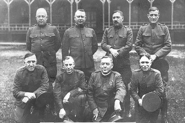 Eight of the original 40 Army Mine Planter Service Warrant Officers appointed in 1922.  Photo taken at Fort McPherson, Georgia. This year the U.S. Army Warrant Officer Corps celebrates its 100th Anniversary on July 09, 2018.The theme is: Army Warrant Officer at 100, a Legacy of Technical Leadership and Expertise