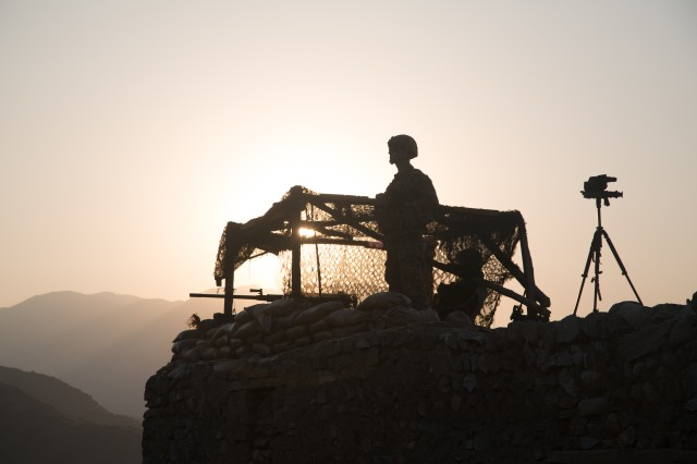 A U.S. paratrooper, assigned to 2nd Battalion, 501st Parachute Infantry Regiment, 1st Brigade Combat Team, 82nd Airborne Division, looks out into the valley at an observation post in Pekha Valley, Achin District, Nangahar Province, Afghanistan, Sept. 3, 2017.