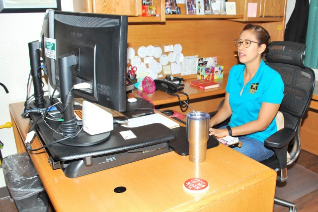 Melissa Saenz works on a contract at the Mission and Installation Contracting Command-Yuma Proving Ground contracting office at Yuma, Arizona. The MICC-Yuma Proving Ground staff provides contracting solutions and oversight for Army Test and Evaluation Command and Yuma Proving Ground units in support of testing and evaluating equipment, vehicles, and weapon systems being deployed to the field. Saenz is a contracting officer with the MICC-Yuma Proving Ground contracting office.
