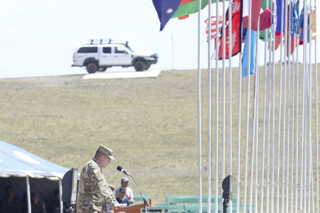 U.S. Army Brigadier Gen. Mark Gillette, Deputy Director for Strategic Planning and Policy, U.S. Pacific Command, delivers a speech at the Khaan Quest 2018 closing ceremony at Five Hills Training Area, Mongolia, June 28.  KQ18 is a multinational training exercise designed to strengthen the capabilities of U.S., Mongolian and other partner nations in international peace support operations.  (U.S. Army National Guard photo by Pfc. Grace Nechanicky/Released)