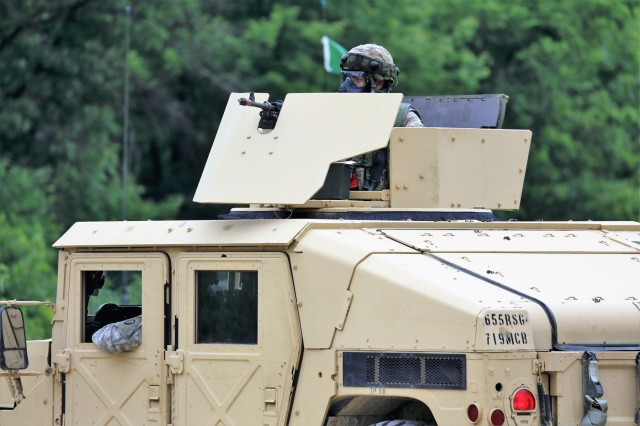 A Soldier participates in a training scenario on a convoy lane on South Post for the 86th Training Division's Combat Support Training Exercise (CSTX) 86-18-04 on June 20, 2018, at Fort McCoy, Wis. More than 6,000 troops from across the United States are training in the exercise, according to the 86th. The exercise is part of the Army Reserve's Combat Support Training Program, or CSTP. CSTP exercises are large-scale, collective-training exercises designed to immerse units into tactical training environments that closely replicate what they might experience in operational deployments. The 86th Training Division is a tenant organization at Fort McCoy. (U.S. Army Photo by Scott T. Sturkol, Public Affairs Office, Fort McCoy, Wis.)
