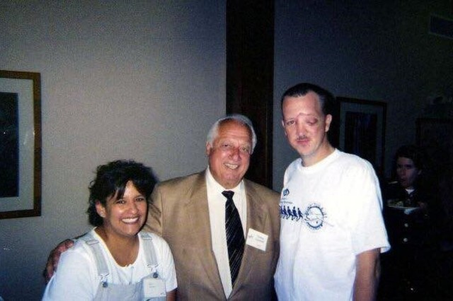 Patti and Kevin Walker two months after his injury in Baghdad with baseball legend and hall of famer Tommy Lasorda. (Photo courtesy of Patti Walker)