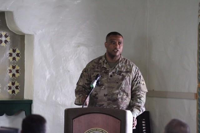 Chaplain (Lt. Col.) Khallid Shabazz, the 7th Infantry Division chaplain, speaks during the Four Chaplains Memorial Prayer luncheon at Fort Hunter Liggett, Feb. 14, 2018. Shabazz was the guest speaker for the event