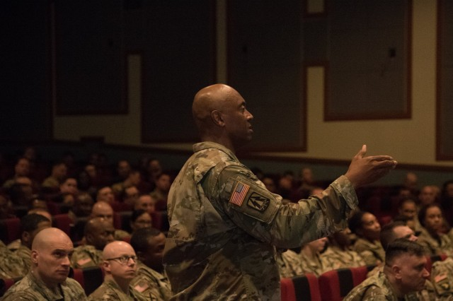 Chief Warrant Officer 5 Orville Wilson, the materiel management branch chief with 19th Expeditionary Sustainment Command, conducts a warrant officer professional development class at the Post Theater, U.S. Army Garrison Camp Humphreys, South Korea, July 10. More than 250 warrant officers gathered together to celebrate and recognize the 100th birthday of the Army Warrant Officer Corps.