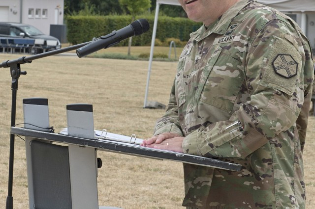 "Col. Todd J. Fish gives his speech at the change of command ceremony. ""Being the garrison commander of Wiesbaden has been the best assignment so far,"" Fish said. Fish will stay in Wiesbaden in the position of deputy director for Installation Management Command, Europe."