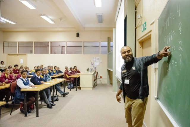 U.S. Military Academy mathematics professor Samuel Ivy lectures South African students to promote science, technology, engineering and math education as part of U.S. Africa Command's outreach efforts with the African Institute for Mathematical Sciences in Muizenberg, South Africa, June 25, 2018.