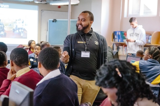 U.S. Military Academy mathematics professor Dr. Samuel Ivy works with South African students to promote Science, Technology, Engineering and Math (STEM) education as part of the U.S. Africa Command outreach efforts with the African Institute for Mathematical Sciences in Muizenberg, South Africa, June 25, 2018. Ivy was joined by two West Point cadets to help facilitate learning and foster confidence in STEM for the African students.