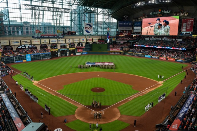 III Corps Soldiers re-enlist on the field before a Houston Astros game at Minute Made Park in Houston, Texas, July 5, 2018.