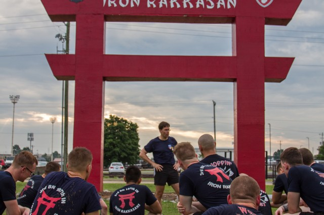 The Secretary of the Army, Dr. Mark T. Esper, addresses the Soldiers after a physical training session with 3rd Battalion, 187th Infantry Regiment, 3rd Brigade Combat Team, 101st Airborne Division (Air Assault), during his visit to Fort Campbell, Kentucky July 10, 2018. Esper was a platoon leader with this unit when he commissioned into the Army in 1986.