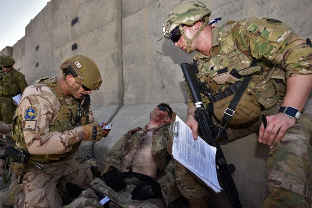 A Portuguese Force Protection soldier, a TCCC student, provides his evaluator, U.S. Army Spc. Bradley Boucher, 224th Medical Company, Maryland National Guard, with a nine-line report for the evacuation of a simulated casualty he stabilized during the TCCC field exercise.
